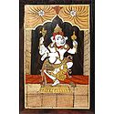 Wood Inlay of Dancing Ganesha - Wall Hanging