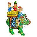 King Sitting on Royal Elephant with Bodyguard and Mahut - Kondapalli Doll