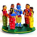 Krishna Playing Raas Lila with Gopinis - Kondapalli Dolls
