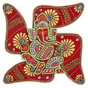 Decorative Ganesha on Swastika - Wall Hanging