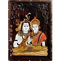Shiva and Parvati - Inlaid Wood Wall Hanging
