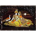 Radha Krishna - Inlaid Wood Wall Hanging