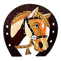 Horse Face on Horse Shoe - Inlaid Wood Wall Hanging
