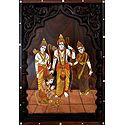 Rama, Lakshman and Sita - Wood Inlay Work