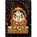 Ganesha - Inlaid Wood Wall Hanging