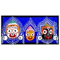 Wooden Faces of Jagannath, Balaram and Subhadra on Hardboard - Wall Hanging