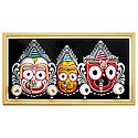 Wooden Faces of Jagannath, Balaram and Subhadra - Wall Hanging