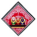 Wooden Jagannath, Balaram and Subhadra on Hardboard - Wall Hanging