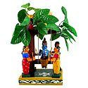 Krishna on a Swing Under Kadamba Tree with Gopinis - Kondapalli Doll