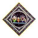 Jagannath, Balaram, Subhadra on Decorated Wooden Base - Wall Hanging