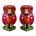 Set of 2 Wooden Red Owl with Colorful Painting