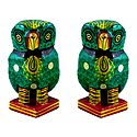Set of 2 Wooden Green Owl with Colorful Painting