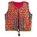 Multicolor Embroidery on Red Ladies Jacket