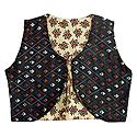 Kantha Stitch on Black Sleeveless Reversible Ladies Jacket