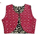 Kantha Stitch on Red Sleeveless Reversible Ladies Jacket