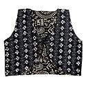 Kantha Stitch on Black Sleeveless Ladies Reversible Waistcoat Jacket