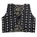 Kantha Stitch on Black Sleeveless Ladies Reversible Waistcoat Jacket