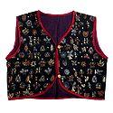 Kantha Stitch on Black Sleeveless Ladies Waistcoat Jacket