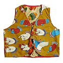 Block Print on Light Yellow Sleeveless Ladies Reversible Waistcoat Jacket