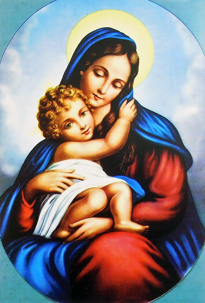 mother mary and baby jesus poster