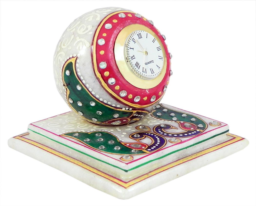 ... Decorative Marble Table Clock On A Chowki