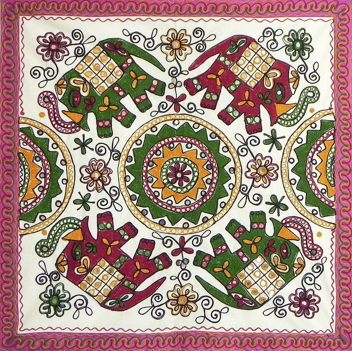 Embroidered Cloth With Elephant Design Wall Hanging Dia 32 In