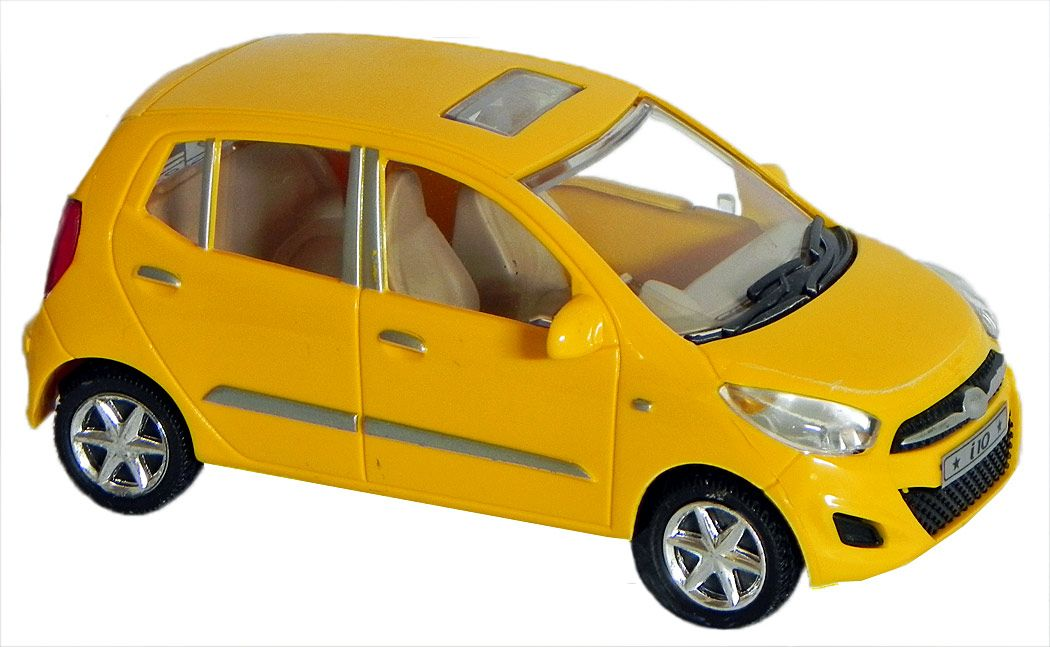Acrylic Yellow Hyundai I10 Toy Car 2 5 X 5 5 X 2 25 Inches