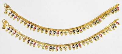 Multicolor Stone Studded Metal Anklet