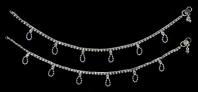 Pair of Stone Studded Metal Anklet