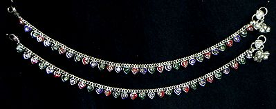 Pair of White Stone Studded Metal Anklet