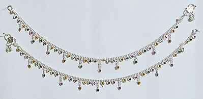 Multicolor Stone Setting White Metal Anklet