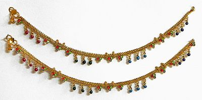 Stone Studded Oxidised Metal Anklet with Beads