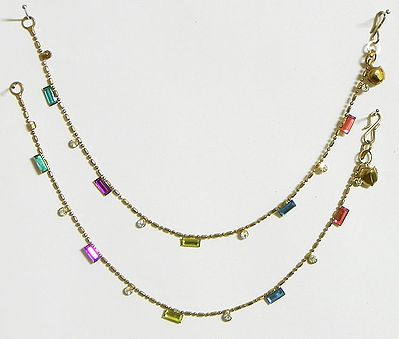 Oxidised Metal Anklet with Multicolor Stone