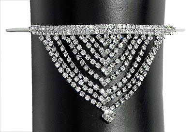 White Stone Studded Silver Polish Jhalar Cuff Armlet (To wear on upper arm)
