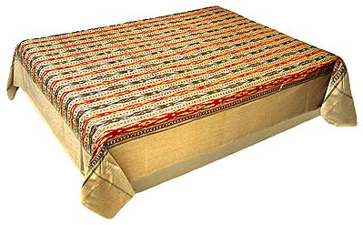 Red, Yellow, Green and Black Hand-Woven Ikkat Design Double Bedspread