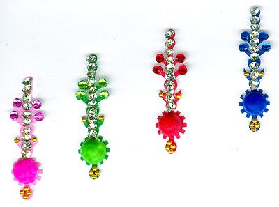 Designer Multicolor Bindis with  Multicolor and White Stones