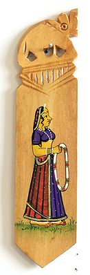 Book Mark with Painted Rajput Lady Holding Garland