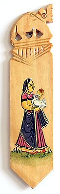 Book Mark with Painted Rajput Lady Holding a Parrot