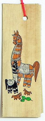 Horses - Patachitra on Palm Leaf Bookmark