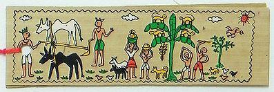 Village Scene - ( Bookmark) Tribal Painting