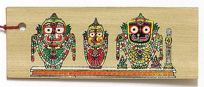 Lord Jagannath, Balarama, Subhadra ( Bookmark) - Patachitra on Palm Leaf