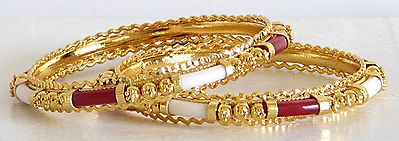 Gold Plated Red and White Bangles
