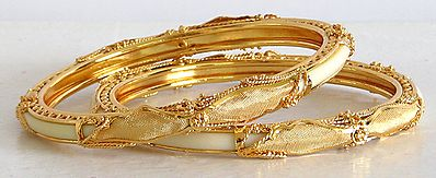Gold Plated White Bangles