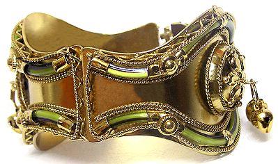 Golden with Olive Green Hinged Bracelet
