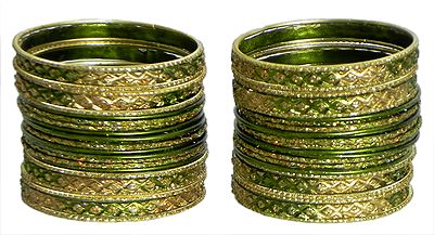 Two Sets of Olive Green and Golden Glitter Bangles