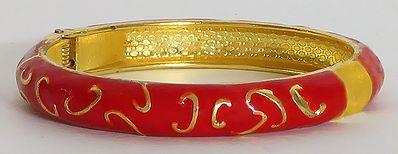Metal Red Hinged Bracelet