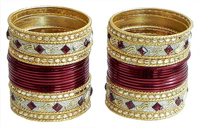 Set of 2 Stone Studded Dark Red with Golden Bangles