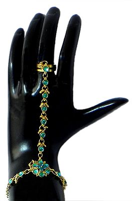 Cyan Kundan Ring Bracelet