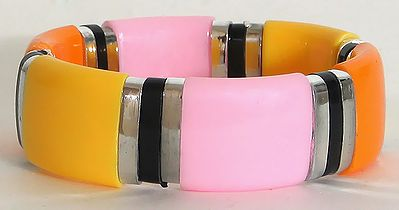 Spring - Yellow, Saffron and  Pink Stretch Bracelet