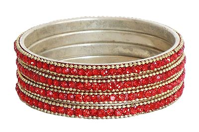 4 Red Stone Studded Bangles